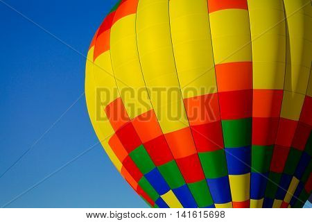 Close photo of a colorful hot air balloon at Rib Fest in Wausau, Wisconsin.