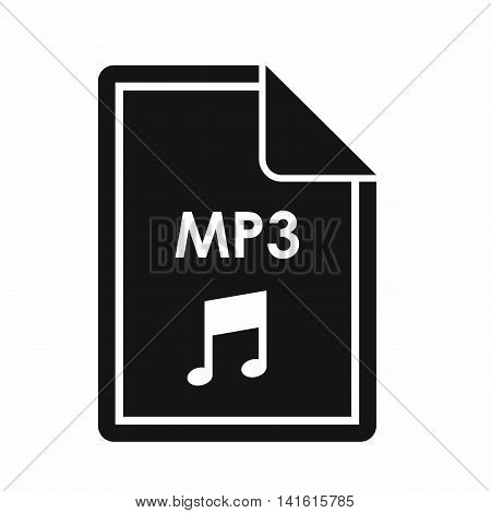 File MP3 icon in simple style isolated on white background. Document type symbol