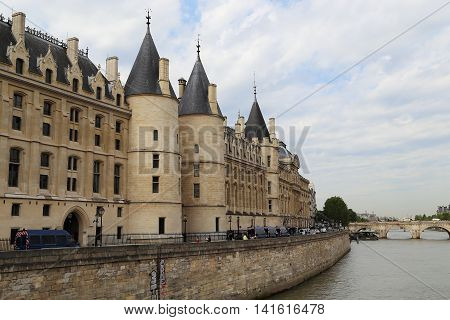 PARIS, FRANCE - MAY 13, 2015: It is Conciergerie - former royal palace and prison is now part of the complex of the Palace of Justice.