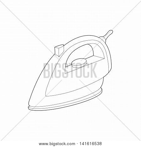 Iron icon in outline style isolated on white background. Ironing symbol