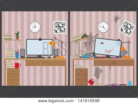 Workstation for use with the computer. Large bright room. Vector illustration.