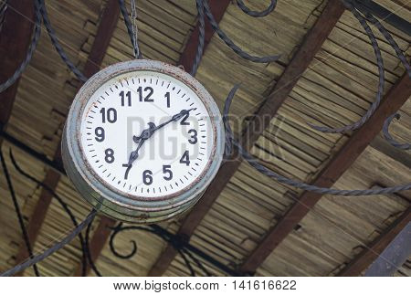 Old retro clock of one central station