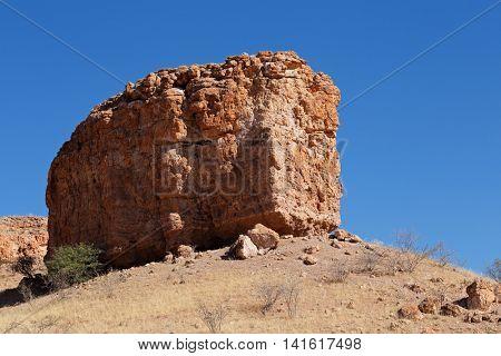 Sandstone rock formation along the dry Auob river, Kalahari Desert, Namibia
