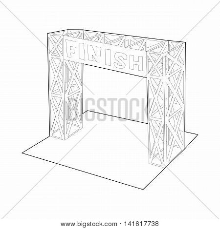 Gates racing finish icon in outline style isolated on white background. Race symbol