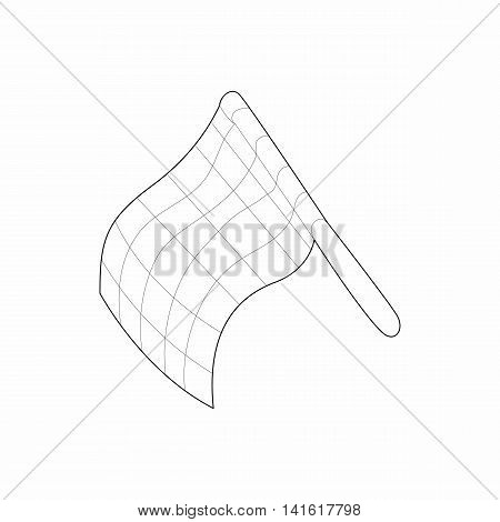 Racing flag icon in outline style isolated on white background. Finish and start symbol