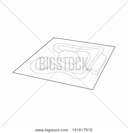 Speedway icon in outline style isolated on white background. Racing symbol
