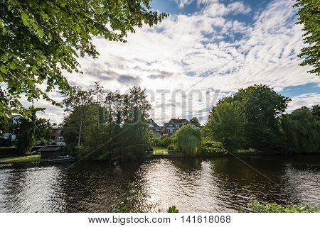 Architectural Buildings Along The Alster Canal In Hamburg Germany