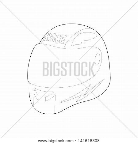 Racing helmet icon in outline style isolated on white background. Protection symbol