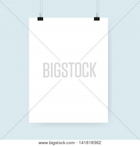 Blank white poster with binder clips. Vector illustration.