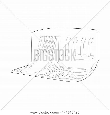 Water dam icon in outline style isolated on white background. Hoarding symbol