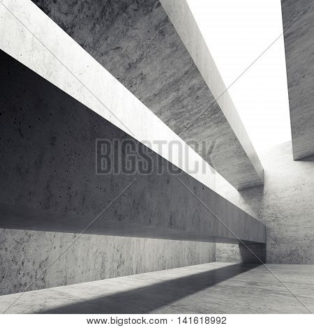 Abstract Empty Concrete Interior With Girders