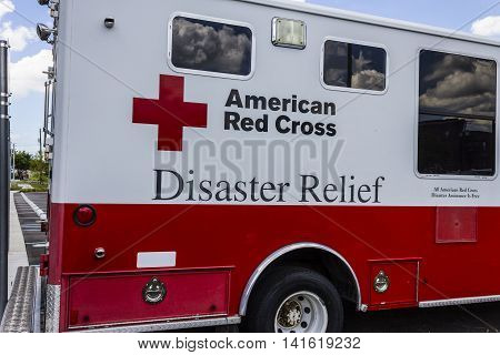 Indianapolis - Circa August 2016: American Red Cross Diaster Relief Van. The American National Red Cross provides emergency assistance and disaster relief I