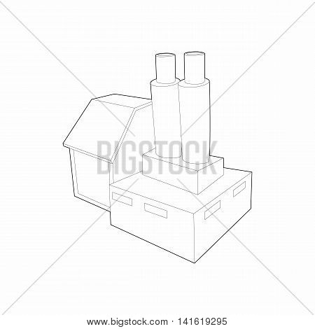 Factory with cylinder to store chemicals icon in outline style isolated on white background. Manufacture symbol