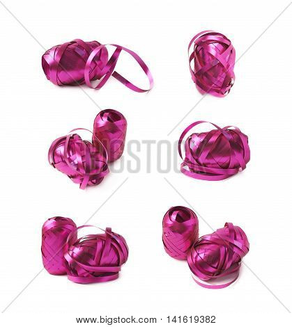 Glossy purple pink ribbon reel partly unwrapped, composition isolated over the white background, set collection of six diffirent foreshortenings