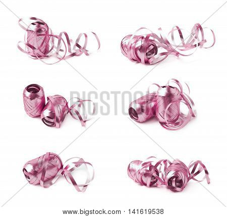 Glossy ribbon reel partly unwrapped, composition isolated over the white background, set collection of six diffirent foreshortenings