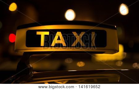 Taxi waiting for a ride at the airport
