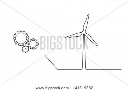 wind turbine with gears icon