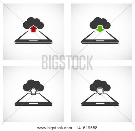 smartphone with computing cloud icon