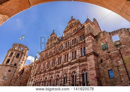 The Heidelberg Castle, famous ruin and landmark of medieval town of Heidelberg