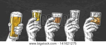 Male hand holding a glasses with beer tequila vodka rum whiskey. Vintage vector engraving illustration for label poster invitation to party and birthday. Isolated on black background