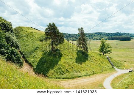 Green mounds in Lithuanian national park Kernave