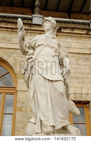 Statue Wisdom near Big Gatchina Palace in Gatchina Russia.