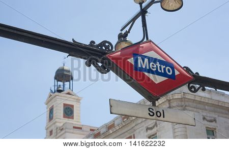 Subway Station Entrance Sign in Madrid Spain. Sol