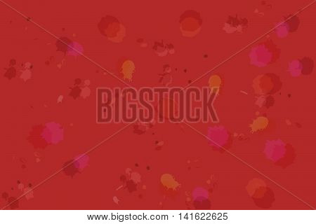 Abstract splattered background. Abstract background with drops splashes and holes in various colors on dark bloody red backdrop. Can be used as part of illustration or wallpaper.