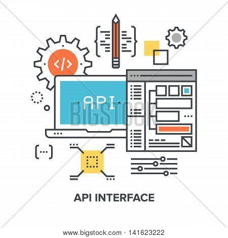 Vector illustration of api interface flat line design concept.
