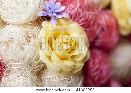 photographed close-up of an artificial tree made of sisal,
