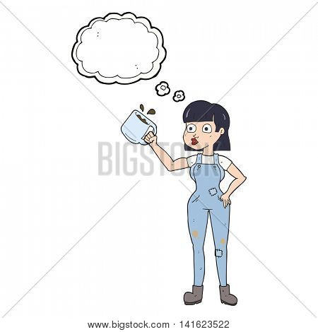 freehand drawn thought bubble cartoon female worker with coffee mug