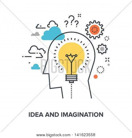 Vector illustration of idea and imagination flat line design concept.