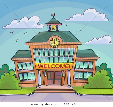 School building Bright cartoon illustration for back to school banner or poster design