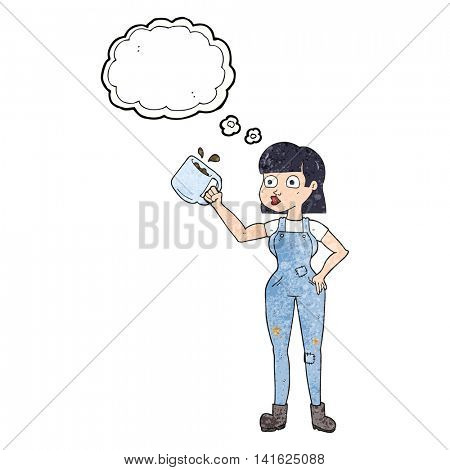 freehand drawn thought bubble textured cartoon female worker with coffee mug