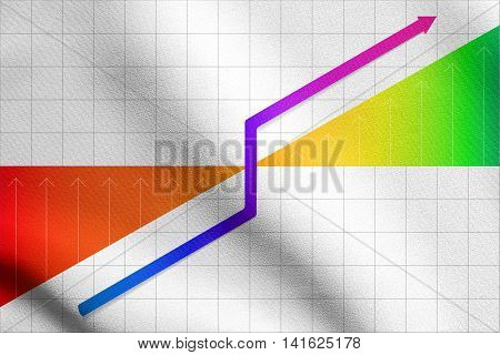 Graph showing business progress on grid background. Detailed fabric texture.