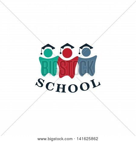 Isolated colorful human silhouettes in hats with writing vector logo. Students contour logotype. Dentist school emblem. Cartoon illustration. Medical element. Teeth image.
