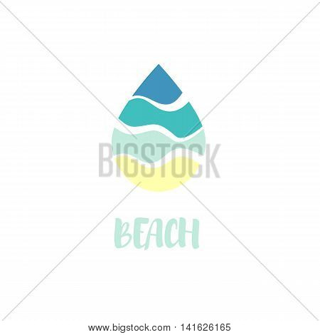 Isolated abstract blue color waterdrop vector logo. Beach symbol. Water logotype. Liquid illustration. Fresh drink sign. Sea, ocean, river element