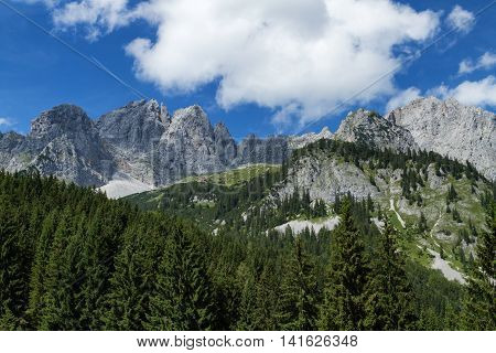 Mountain scene in the Alps austrian travel destination Wilder Kaiser chain Tyrol.