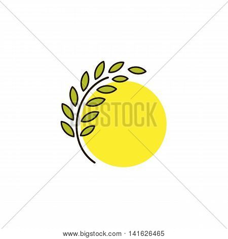 Isolated round shape abstract agricultural vector logo. Wheat ear with sun silhouette logotype. Farm icon. Harvesting illustration. Bakery emblem