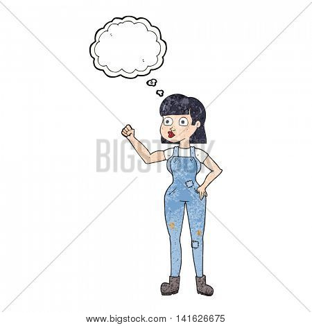 freehand drawn thought bubble textured cartoon woman clenching fist