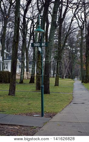 Street signs on a lamppost mark the intersection of Beach Drive and Third Avenue in Wequetonsing, Michigan.