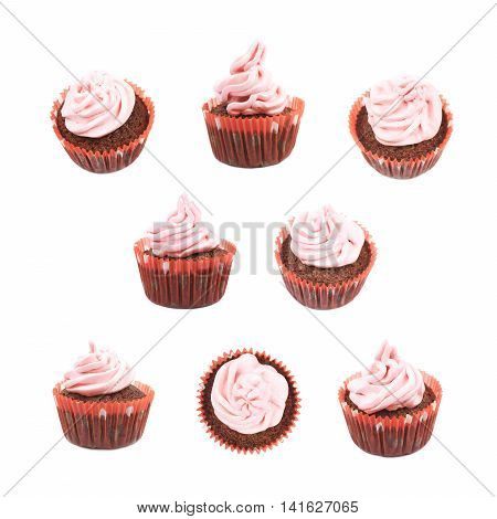 Single chocolate muffin coated with the pink cream frosting, composition isolated over the white background, set of eight different foreshortenings