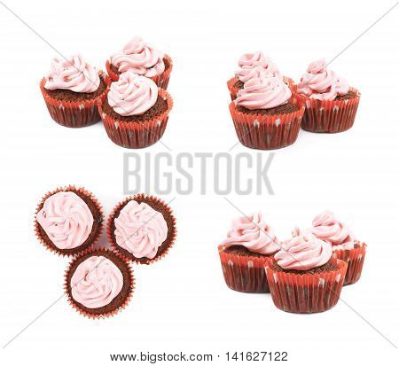 Chocolate muffin coated with the pink cream frosting, composition isolated over the white background, set of four different foreshortenings