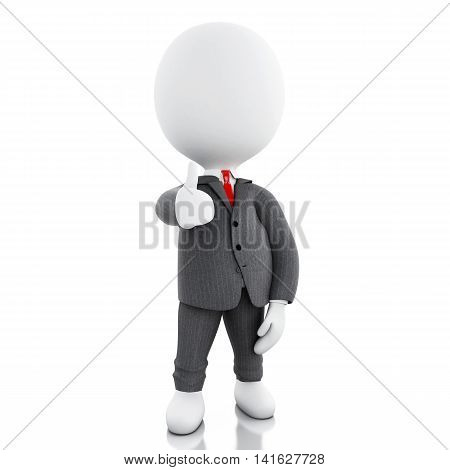 3d renderer image. White person. Businessman with thumbs up. Success concept. Isolated white background