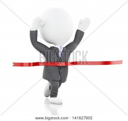 3d illustration. White business person crossing the finishing line. Succes concept. Isolated white background