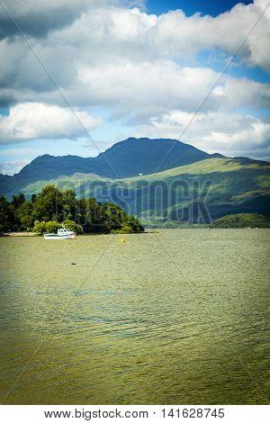 Beautiful summer landscape at Loch Lomond in Luss Scotland UK