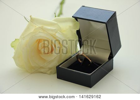 Classic solitaire engagement ring in box and white rose