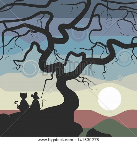 The illustration. The cat and mouse sitting on a rock near the tree and watch the sunset. The sky painted in different colors. A cat ,a mouse,a tree and a rock painted black.