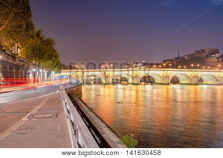 PARIS, FRANCE - CIRCA SEPTEMBER, 2014: Paris at night time. Paris is the capital and most populous city of France.