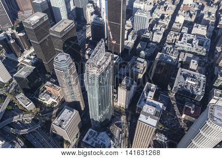 Los Angeles, California, USA - August 6, 2016:  Wilshire Grand Center in downtown Los Angeles nears completion.  The 1100 foot tall building is the tallest tower in western United States.